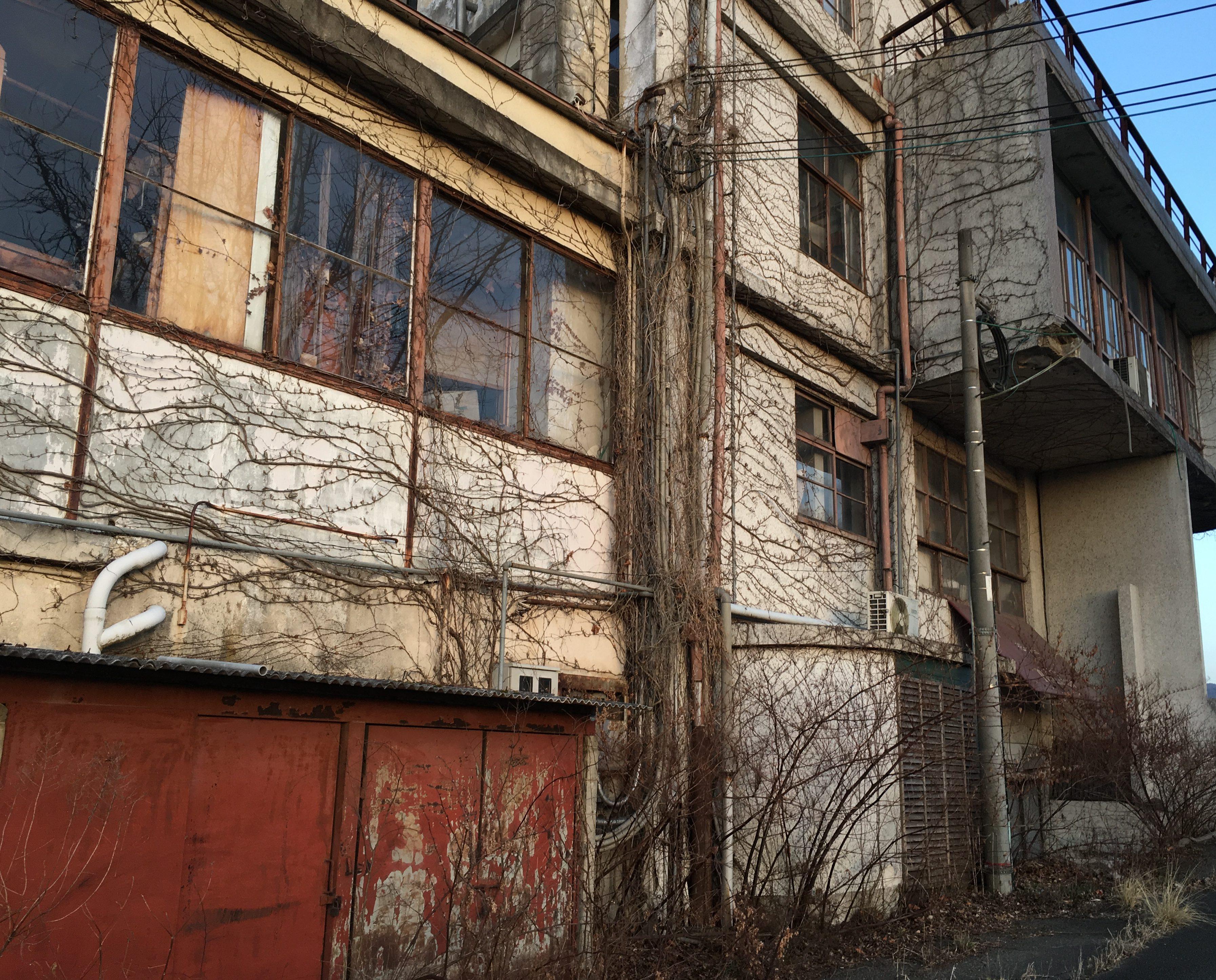ツルがまとい不気味な旧亀岡商工会館